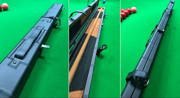 Black Leather Look Patchwork 3/4 Cue Case