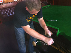Example of cloth replacement on snooker table