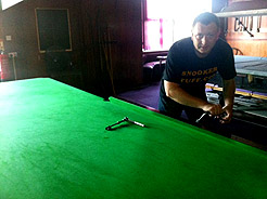 Further example of cloth replacement on snooker table