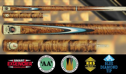 Burwat 3/4 Snooker Cue With Brown Marble Effect (Ref SS-RBG-5)