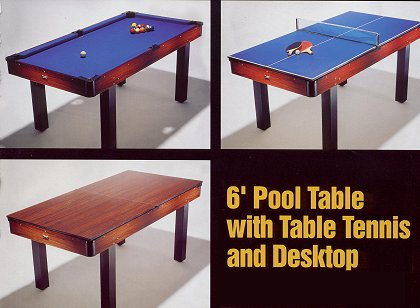 6 foot Pool Table with Table Tennis and Desktop (Ref. BBT21D-ROSE)