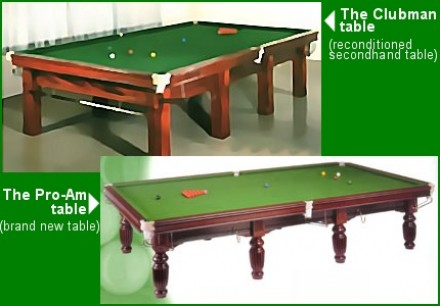 The Clubman And Pro-Am Snooker Tables